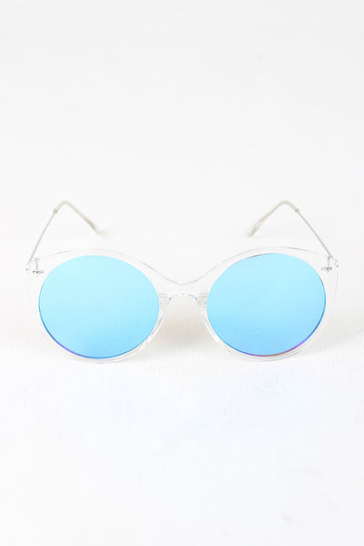 Clear Frame Round Mirrored Sunglasses