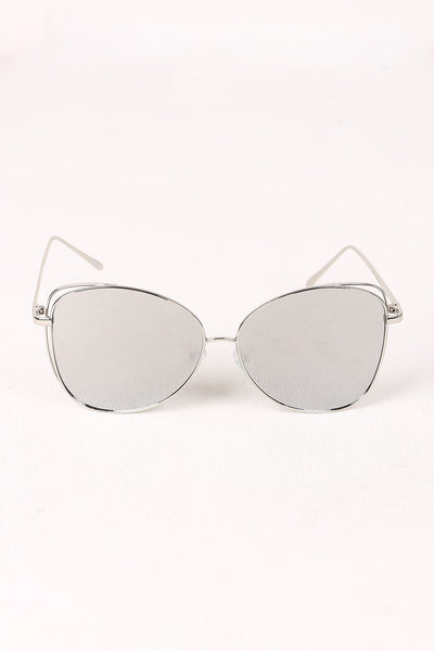 Wire Framed Mirrored Lens Aviator Sunglasses