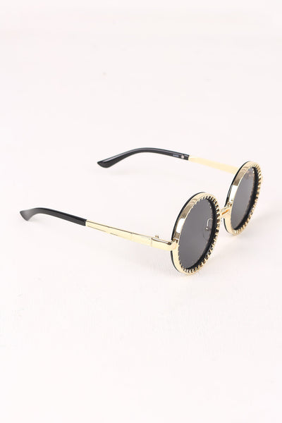 Spike Accent Circular Lens Metal Framed Sunglasses