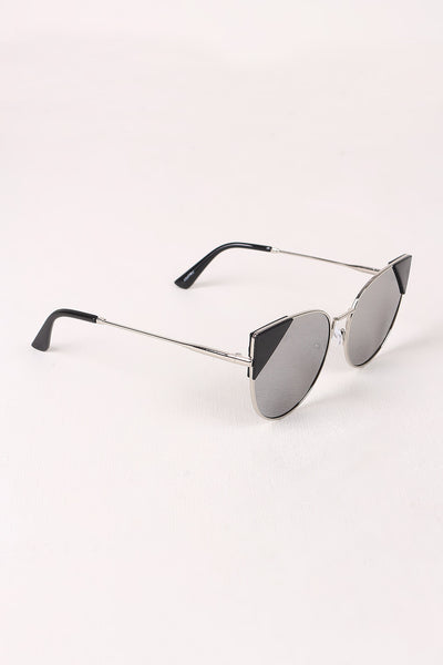 Wire Frame Mirrored Cat Eye Sunglasses