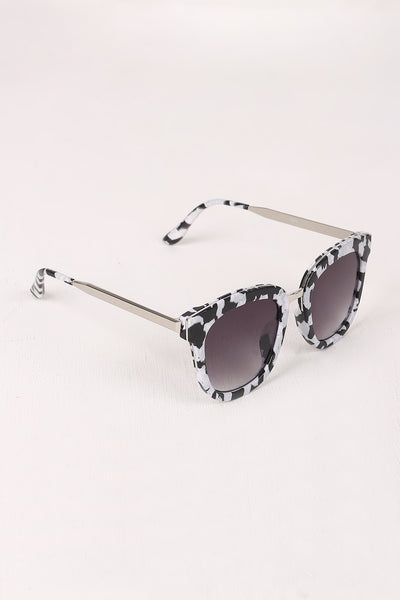 Marble Accent Plastic Frame Cat Eye Sunglasses