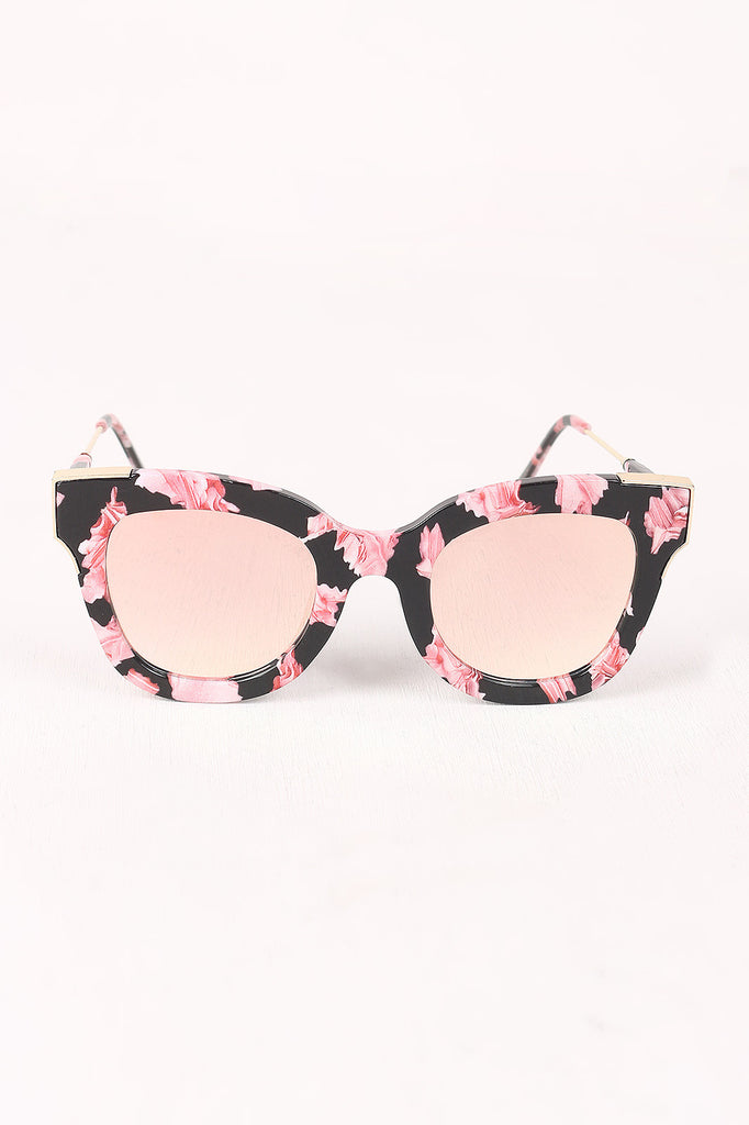 Printed Plastic Frame Metallic Accent Cat Eye Sunglasses