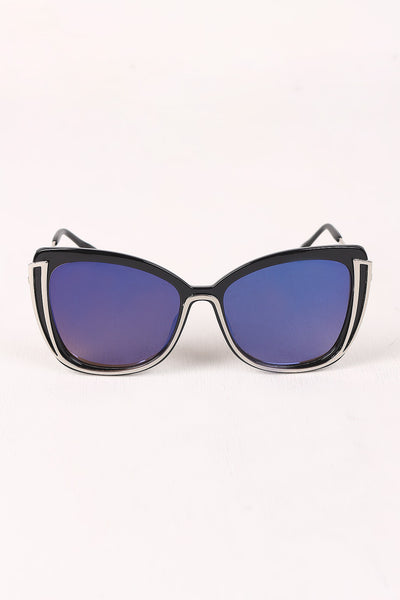 Wavy Arms Metallic Accent Mirrored Butterfly Sunglasses