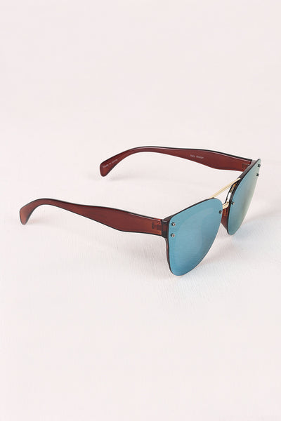 Rimless Mirrored Butterfly Sunglasses