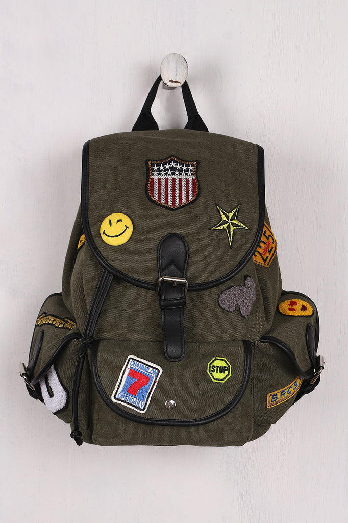 Multi Patches Canvas Drawstring Backpack