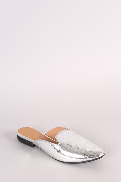 Qupid Grid Textured Slip-On Loafer Flat