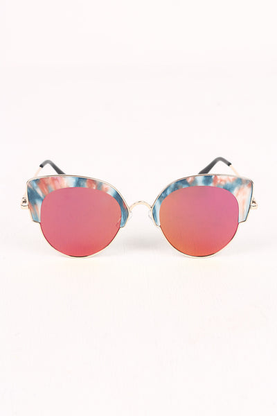 Marble Accent Plastic Frame Cat Eye Mirrored Sunglasses