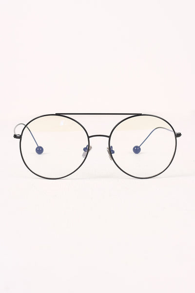 Metal Double Bridge Clear Lens Ball Accent Glasses