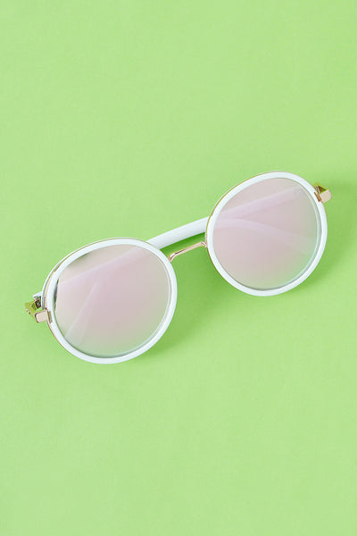 Round Mirrored Glitter Sunglasses