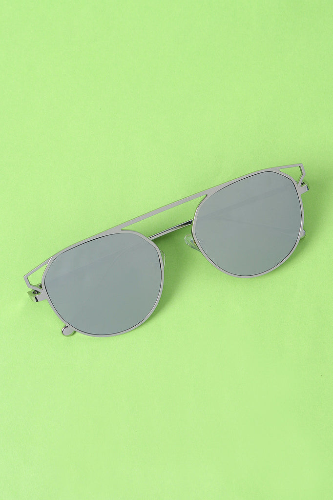 Semi-Round Mirrored Lens Sunglasses