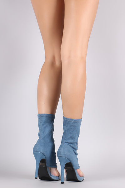 Denim Clear Inset Peep Toe Stiletto Boots