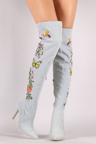 Embroidered Insect And Flower Stiletto Over-The-Knee Boots