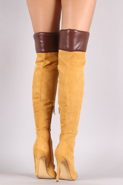 Liliana Suede Pointy Toe Lace-Up Over-The-Knee Boots