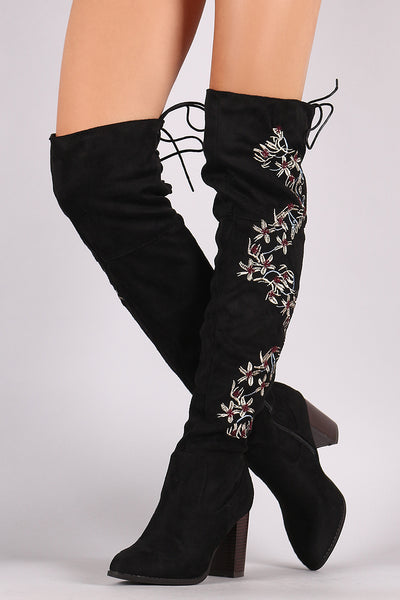 Qupid Embroidered Floral Suede Back Lace-Up Chunky Heeled Boots