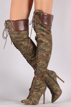 Liliana Camouflage Pointy Toe Lace-Up Over-The-Knee Boots