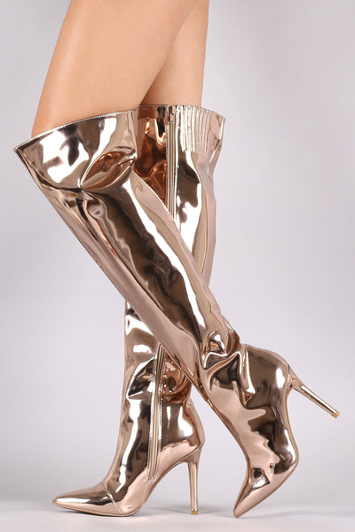 Qupid Mirror Metallic Pointy Toe Stiletto Over-The-Knee Boots