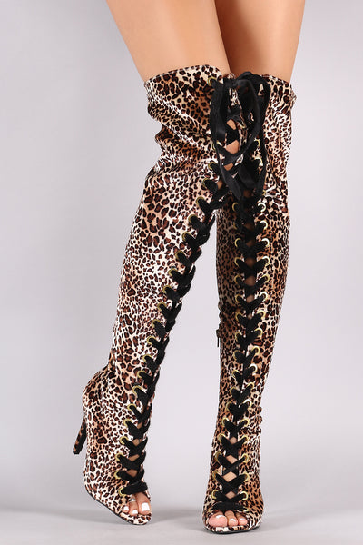 Qupid Leopard Velvet Lace Up Stiletto Over-The-Knee Boots