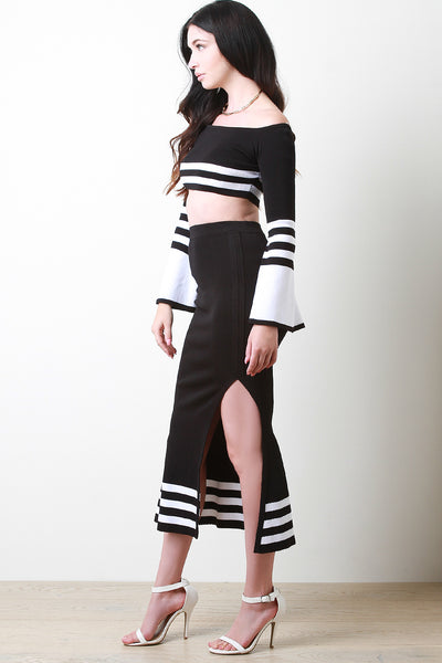 Striped Bardot Statement Sleeve Top With Slit Skirt Set