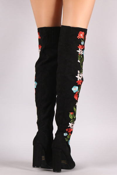 Qupid Suede Pointy Toe Floral Applique Chunky Over-The-Knee Boots