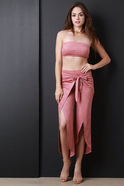 Vegan Suede Two Piece Wrap Pants Set