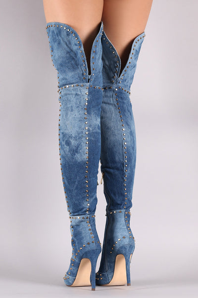 Studded Denim Pointy Toe Stiletto Over-The-Knee Boots