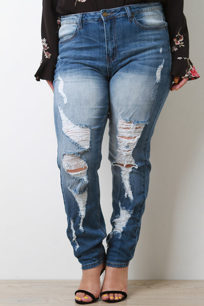 High Rise Rip Skinny Jeans
