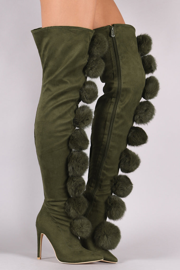 Suede Oversized Pom Pom Stiletto Over-The-Knee Boots