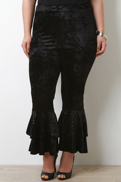 Crush Velvet Trumpet Bell Bottom Pants