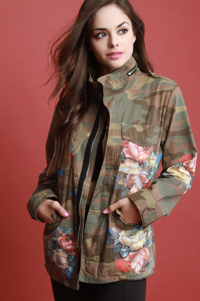 Floral Camouflage Printed Drawstring Jacket