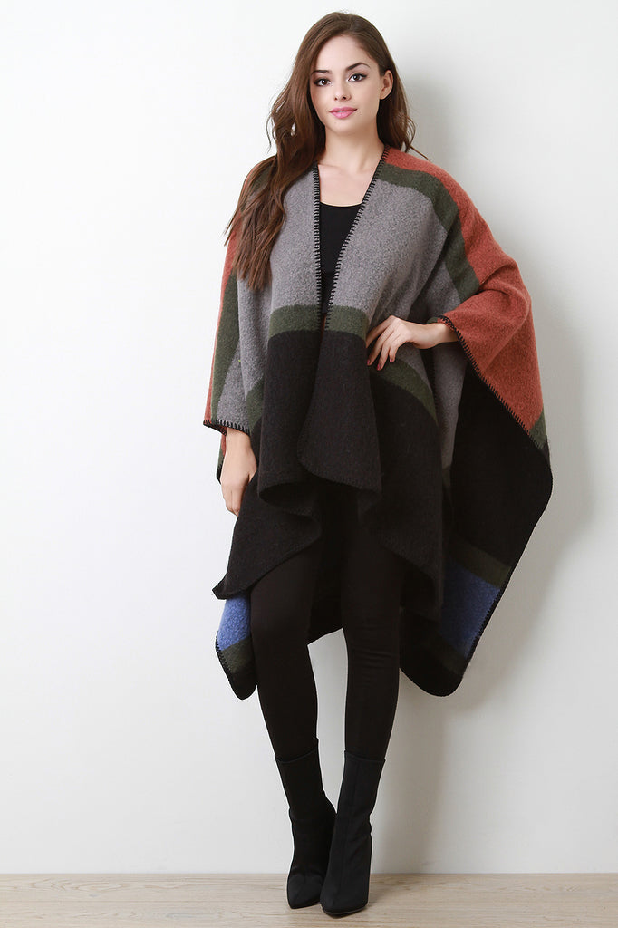 Striped Soft Knit Open Front Poncho
