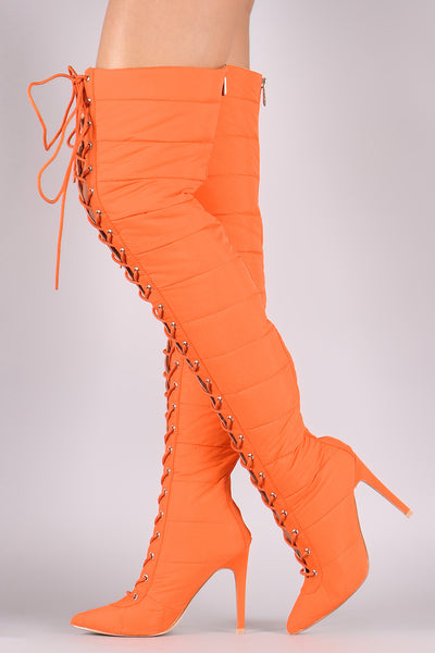 Quilted Puffer Lace-Up Stiletto OTK Boots