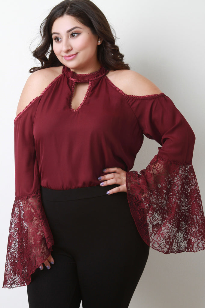 Trumpet Lace Sleeves Cold Shoulder Top