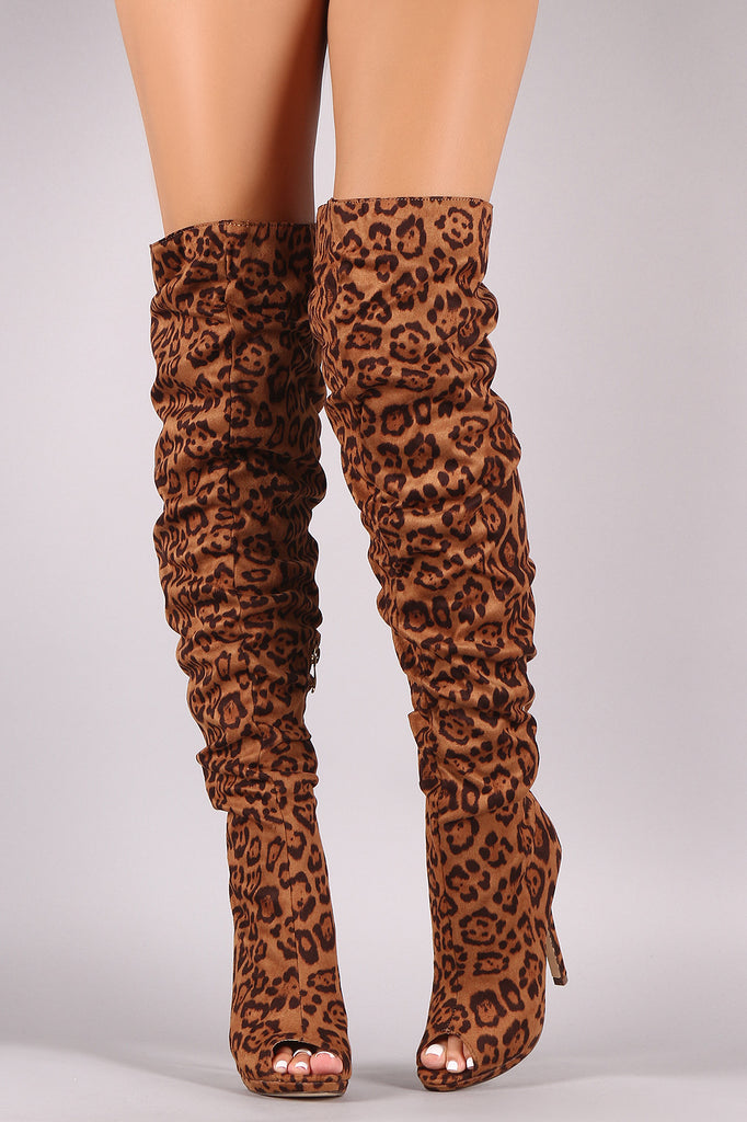 Liliana Leopard Suede Peep Toe Stiletto Over-The-Knee Boots