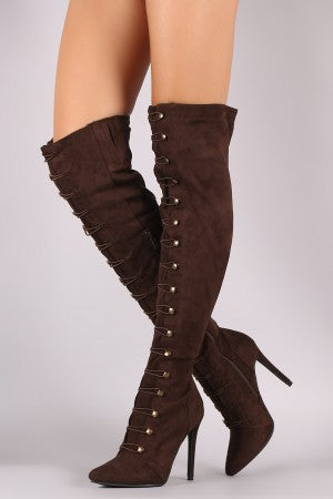 Suede Pointy Toe Lace-Up Stiletto Over-The-Knee Boots