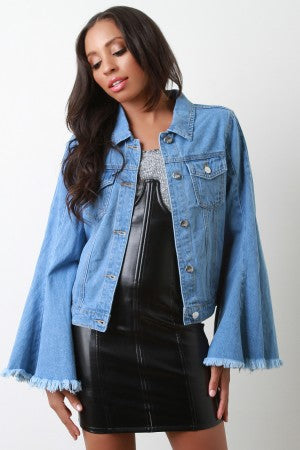 Denim Frayed Bell Sleeves Jacket