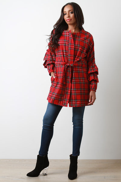 Plaid Statement Sleeve Jacket