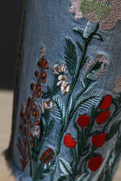 Embroidered-Floral Denim Slim Ripped Ankle Jeans