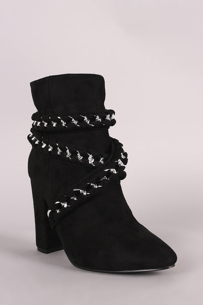 Suede Braided Chain Wrapped Chunky Heeled Booties