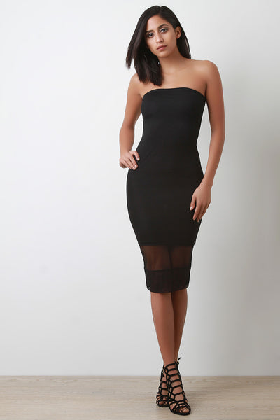 Mesh Overlay Tube Midi Dress