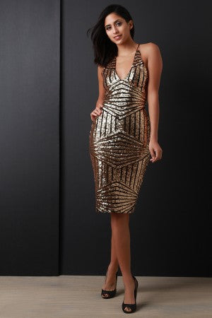 Metallic Sequin Self-Lace Back Midi Dress