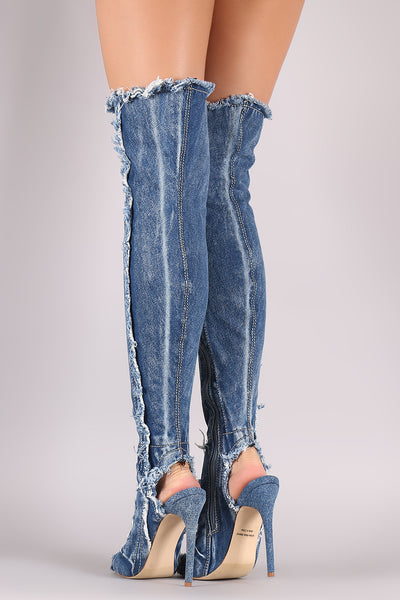 Destroyed Frayed Denim Stiletto Over-The-Knee Boots