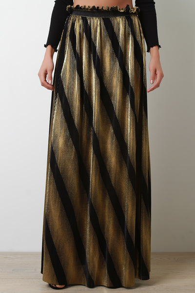 Metallic Accordion-Pleated Striped Maxi Skirt