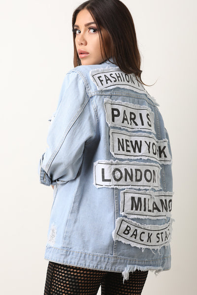 Fashion Tour City Patch Button-Up Denim Jacket