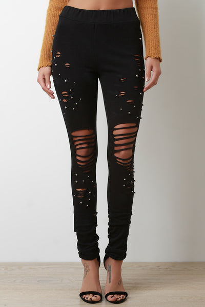 Sphere Studded Distressed Knit Jogger Pants