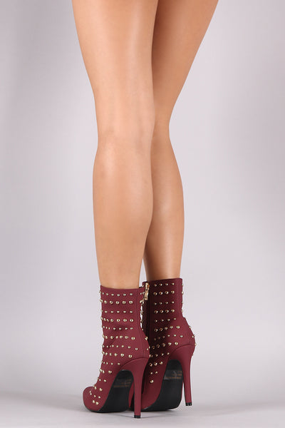 Studded Pointy Toe Stiletto Booties