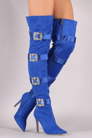 Faux-Crystal Buckle Embellished Suede Pointy Toe Over-The-Knee Stiletto Boots