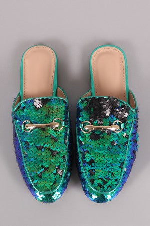 Sequin Embellished Horsebit Slip On Mule Flat