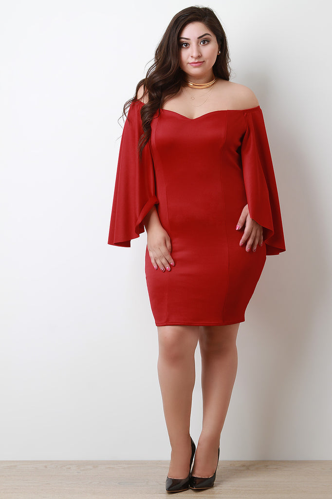 Sweetheart Bardot Cape-Sleeves Bodycon Midi Dress