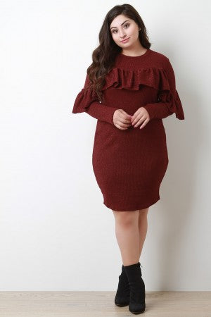 Shimmery Ribbed Long Sleeves Ruffle Midi Dress