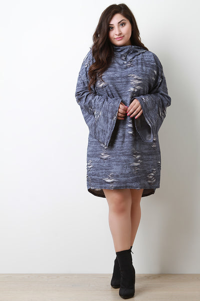 Distressed Oversized Hoodie Dress